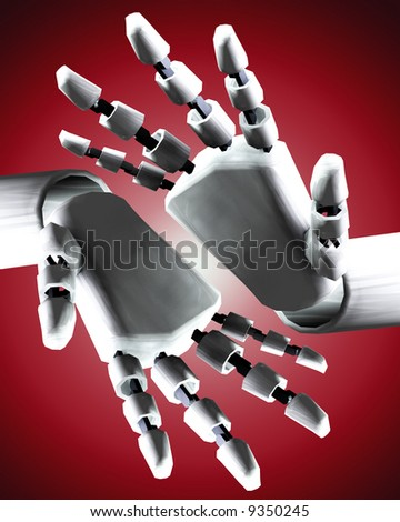 A conceptual image of some robot hands, it would be a good image for technology concepts.
