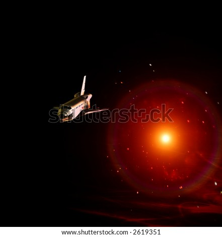 A conceptual image of spacecraft flying away from a sun in space.