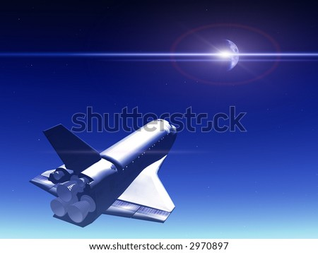 A conceptual image of spacecraft flying away from Earth.