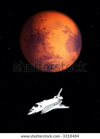 A conceptual image of spacecraft flying next to Mars.
