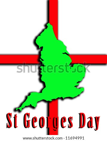 A conceptual image of the map of England against the English flag, mainly this image is aimed at use for St Georges day.