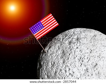 A conceptual image of the US flag on a moon. - stock photo