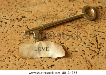 A conceptual image relating to the key of love.