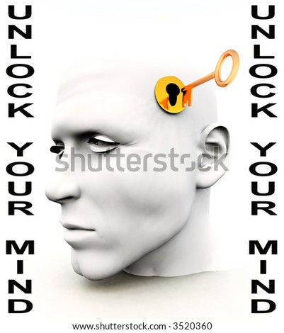 A conceptual key unlocking a mind, representing imagination,inspiration and intellect.