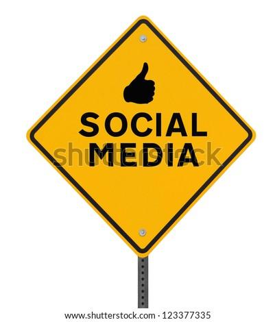 A conceptual road sign on social media (on white with clipping path)