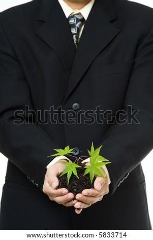 A conceptual shot of a businessman holding a new plant