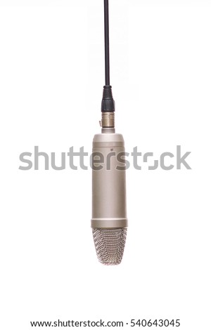 A Condencer Mic Hanging In Studio Isolated On White