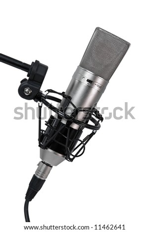 A condenser microphone in shock absorbent cage, isolated on white background
