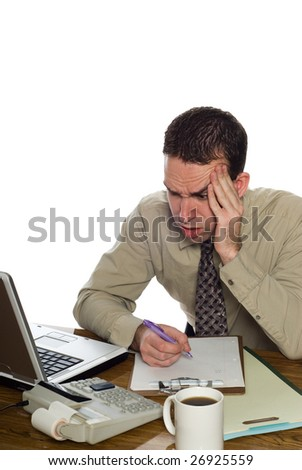 A confused accountant looking at his recent calculation, isolated against a white background