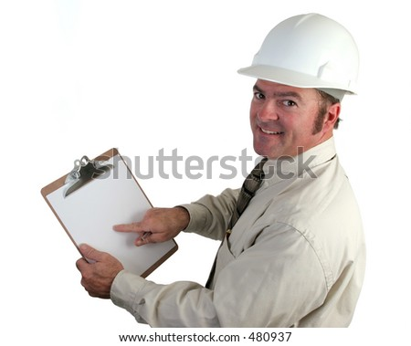 A construction supervisor happy, pointing out a good report - isolated