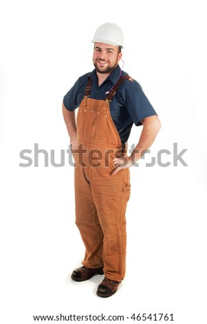 a construction worker looking at the camera isolated