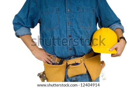 A construction worker on white background holding a hard hat and wearing a leather tool belt