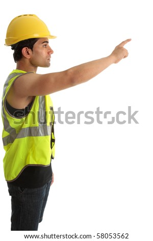 A construction worker or builder with arm outstretched and pointing.  White background.  Suitable for your message.
