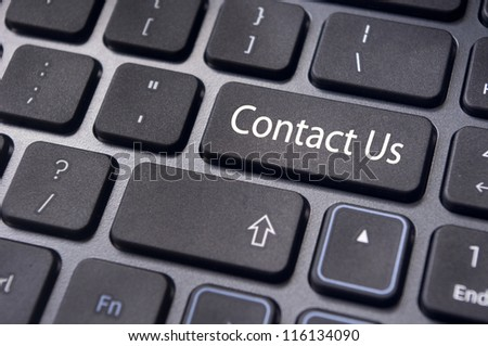 A 'contact us' message on enter key of keyboard, for online communications.