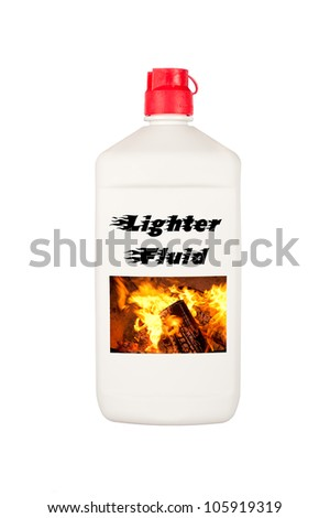 A container of charcoal lighter fluid isolated on a white background.  Good for summer barbecue inferences and safety messages.