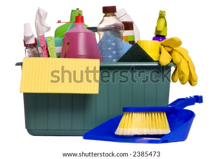 A container with all the items needed for the daily chore of cleaning house