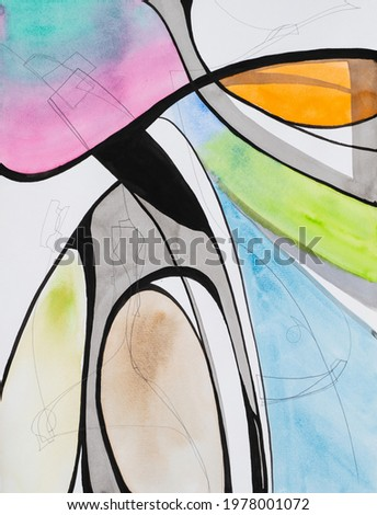 A contemporary abstract painting, in watercolor, pencil and indian ink.