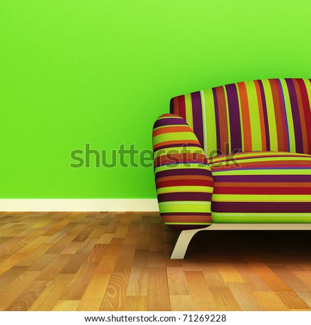 A contemporary colorful sofa