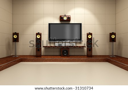 A contemporary home theater room without furniture. Digitally created and high resolution rendered. #31310734