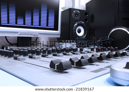 A control panel in a radio studio #21839167