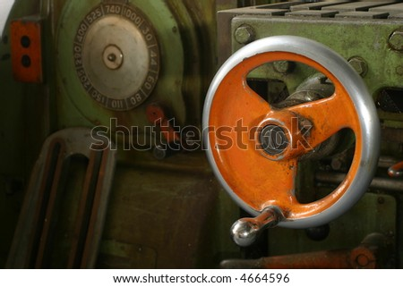 A control wheel on a large machine