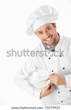 A cook prepares a white background