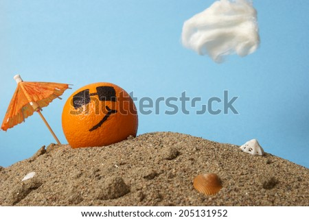 A cool orange chills at the beach in the Florida sunshine. Сток-фото ©