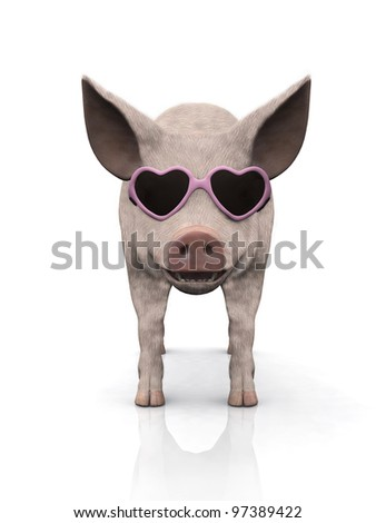 A cool smiling piglet wearing pink heart shaped sunglasses. White background.