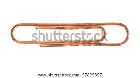 a copper paper clip isolated on white background