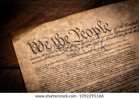 A copy of the Constitution of the United Sates of American on a wooden background Stockfoto ©