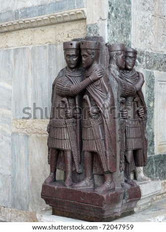 A corner stone of the San Marco basilica in Venice i8n Italy