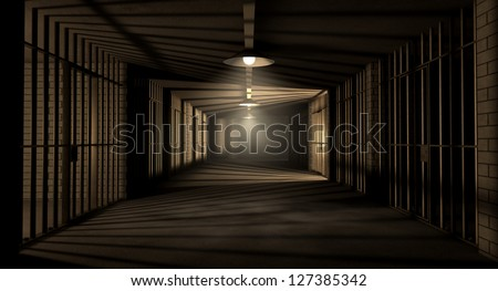 A corridor in a prison at night showing jail cells illuminated by various ominous lights