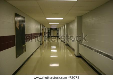 A corridor in an secondary school.