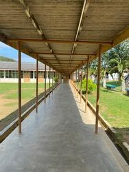 A corridor or hallway inside a school