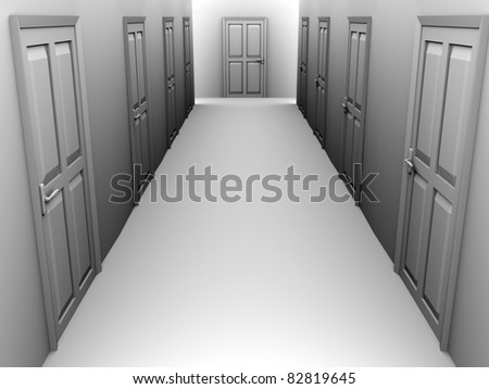 A corridor with some closed doors. 3d render