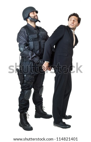 a corrupted businessman being arrested by a swat agent