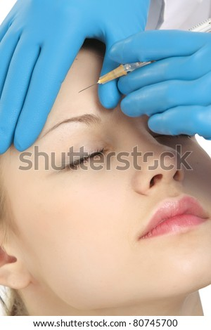 A cosmetic injection to the face - close-up portrait