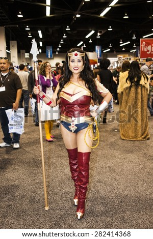 A cosplayer dressed as the character Wonder Woman at WonderCon in Anaheim, California, April 2014.