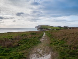 A Costal Path Leads To Freshwater Bay On The Isle Of Wight