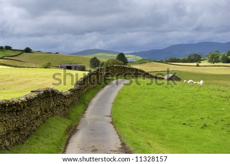 A country lane near Staveley in the English lake District