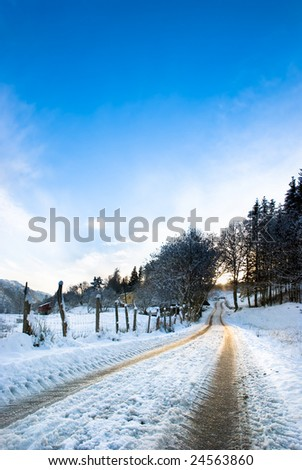 Stock Photo A country road in Norway at winter time