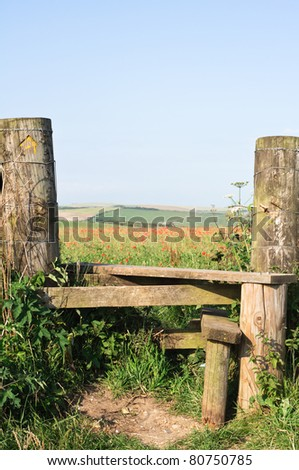 A country stile, leading to a poppy field and farmland beyond.  Copy space in pale blue sky.  Vertical (portrait) orientation.