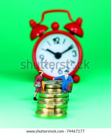 A couple about to hold hands and climb the financial stairway to success, with a red alarm clock in the background, asking the financial question how long will you be able to meet the bank repayments.