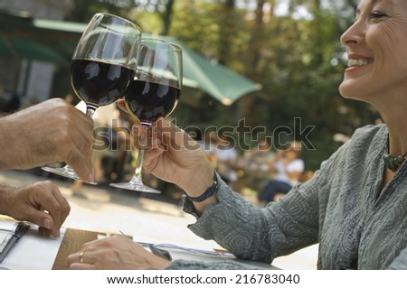 A couple drinking wine