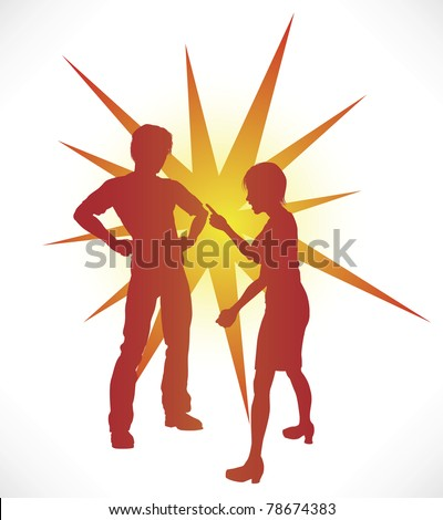 A couple in silhouette having a heated argument.