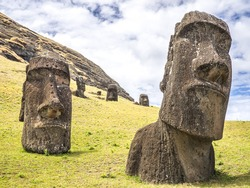 A couple of big moai heads