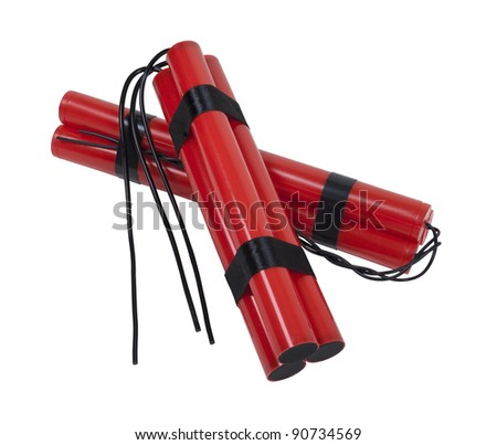 A couple of bundles of red sticks of dynamite with long fuses - path included
