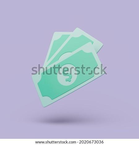 A Couple of cash on purple background. Money-saving, cashless. Simple 3d render illustration.