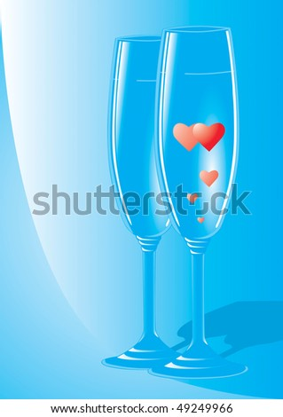 A couple of champagne flutes with hearts inside the. Conceptual romantic Valentines Day still life illustration