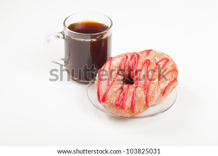 A couple of cherry donuts and a cup of coffee isolated on white.